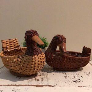 Set of 2 Wicker Duck Baskets Boho